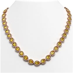 33.35 CTW Fancy Citrine & Diamond Halo Necklace 10K Rose Gold - REF-590M5H - 41085