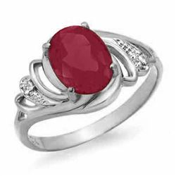 2.25 CTW Ruby & Diamond Ring 18K White Gold - REF-34H9A - 13871