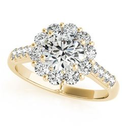 1.75 CTW Certified VS/SI Diamond Solitaire Halo Ring 18K Yellow Gold - REF-244M5H - 26286