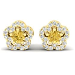 0.65 CTW Citrine & Micro Pave VS/SI Diamond Earrings Moon Halo In 10K Yellow Gold - REF-33F5N - 2121