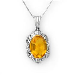 5.80 CTW Citrine & Diamond Necklace 10K White Gold - REF-44Y9K - 10652