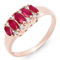 0.77 CTW Ruby & Diamond Ring 18K Rose Gold - REF-37X3T - 12336