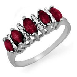 0.88 CTW Ruby Ring 18K White Gold - REF-31Y5K - 12676