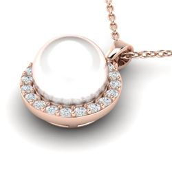 0.25 CTW Micro Halo VS/SI Diamond & White Pearl Necklace 14K Rose Gold - REF-33H8A - 21577