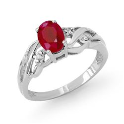 1.02 CTW Ruby & Diamond Ring 18K White Gold - REF-33N6Y - 13746