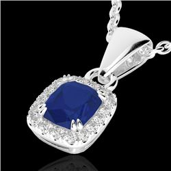 1.25 CTW Sapphire & VS/SI Diamond Halo Necklace Micro Pave 10K White Gold - REF-29F6N - 22890