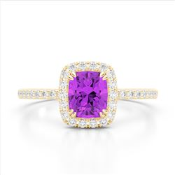 1.25 CTW Amethyst & Micro Pave VS/SI Diamond Halo Ring 10K Yellow Gold - REF-34Y5K - 22897