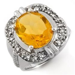4.68 CTW Citrine & Diamond Ring 14K White Gold - REF-69F5N - 10017