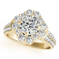2 CTW Certified VS/SI Diamond Solitaire Halo Ring 18K Yellow Gold - REF-270H2A - 26708