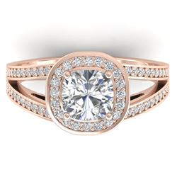 1.5 CTW Cushion Cut Certified VS/SI Diamond Art Deco Ring 14K Rose Gold - REF-429T8M - 30334