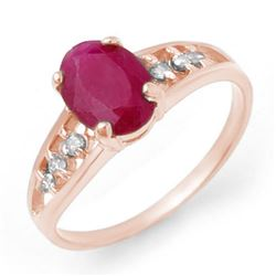 1.70 CTW Ruby & Diamond Ring 14K White Gold - REF-22Y9K - 13958