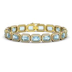 24.51 CTW Aquamarine & Diamond Halo Bracelet 10K Yellow Gold - REF-401Y3K - 41404