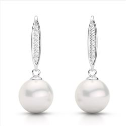 0.18 CTW Micro VS/SI Diamond & White Pearl Designer Earrings 18K White Gold - REF-34H5A - 22636