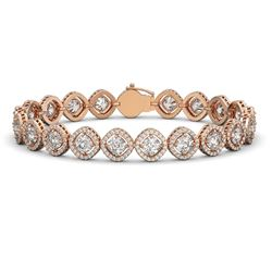 15.58 CTW Cushion Cut Diamond Designer Bracelet 18K Rose Gold - REF-2887Y8K - 42861