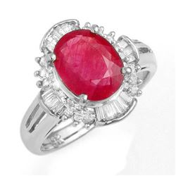 3.83 CTW Ruby & Diamond Ring 18K White Gold - REF-96A8X - 13308