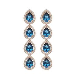 7.81 CTW London Topaz & Diamond Halo Earrings 10K Rose Gold - REF-139A5X - 41175