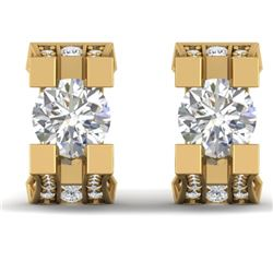 2.25 CTW I-SI Diamond Solitaire Art Deco Stud Micro Earrings 14K Yellow Gold - REF-233N5Y - 30290