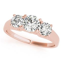 1.3 CTW Certified VS/SI Diamond 3 Stone Solitaire Ring 18K Rose Gold - REF-235K3W - 28054