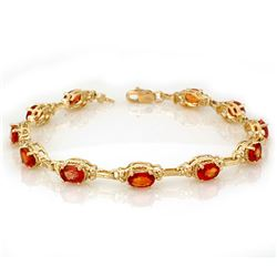 8.0 CTW Orange Sapphire Bracelet 10K Yellow Gold - REF-63X6T - 11042