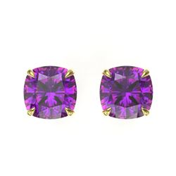 4 CTW Cushion Cut Amethyst Designer Solitaire Stud Earrings 18K Yellow Gold - REF-29N3Y - 21730