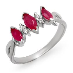 0.57 CTW Ruby & Diamond Ring 18K White Gold - REF-29T6M - 12701