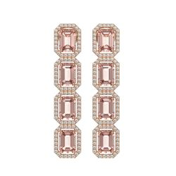 10.73 CTW Morganite & Diamond Halo Earrings 10K Rose Gold - REF-272A5X - 41439
