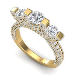 2.3 CTW VS/SI Diamond Micro Pave 3 Stone Ring 18K Yellow Gold - REF-263T6M - 36958