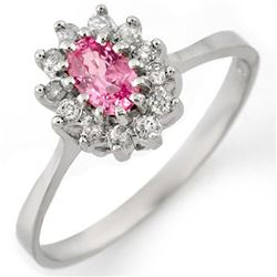 0.60 CTW Pink Sapphire & Diamond Ring 18K White Gold - REF-39A3X - 11287