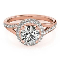1.35 CTW Certified VS/SI Diamond Solitaire Halo Ring 18K Rose Gold - REF-216F4N - 26824