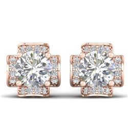 1.85 CTW Certified VS/SI Diamond Art Deco Stud Earrings 14K Rose Gold - REF-210T2M - 30277