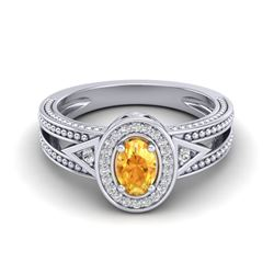 0.53 CTW Citrine & VS/SI Diamond Solitaire Halo Fashion Ring 10K White Gold - REF-25W3F - 20834
