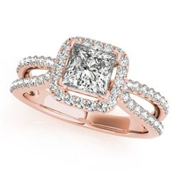 1.5 CTW Certified VS/SI Princess Diamond Solitaire Halo Ring 18K Rose Gold - REF-400H2A - 27133
