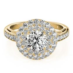 2.25 CTW Certified VS/SI Diamond Solitaire Halo Ring 18K Yellow Gold - REF-481K5W - 26882