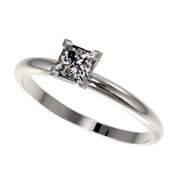 0.50 CTW Certified VS/SI Quality Princess Diamond Solitaire Ring 10K White Gold - REF-77X6T - 32868