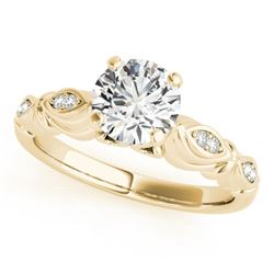 0.6 CTW Certified VS/SI Diamond Solitaire Antique Ring 18K Yellow Gold - REF-115F3N - 27347