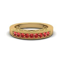 0.50 CTW Red Sapphire Band Love Me Art Deco Ring 10K Yellow Gold - REF-17W6F - 20814