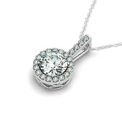 1 CTW Certified SI Diamond Solitaire Halo Necklace 14K White Gold - REF-171W3F - 29980