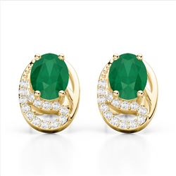 2.50 Emerald & Micro Pave VS/SI Diamond Stud Earrings 10K Yellow Gold - REF-25H6A - 22332