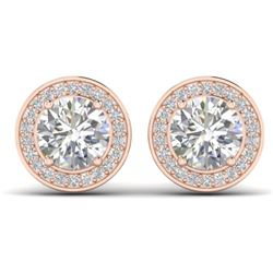 1.85 CTW I-SI Diamond Solitaire Art Deco Micro Stud Halo Earrings 14K Rose Gold - REF-327F3N - 30355