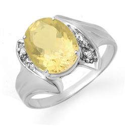 1.76 CTW Citrine & Diamond Ring 10K White Gold - REF-16M9H - 12371