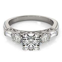 2.5 CTW Certified VS/SI Diamond Pave Solitaire Ring 18K White Gold - REF-650K3W - 28110