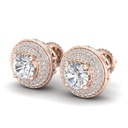 2.35 CTW VS/SI Diamond Solitaire Art Deco Stud Earrings 18K Rose Gold - REF-400T2M - 37257