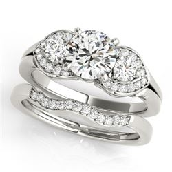 1.3 CTW Certified VS/SI Diamond 3 Stone 2Pc Wedding Set 14K White Gold - REF-209W3F - 32012