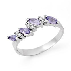 0.75 CTW Tanzanite & Diamond Ring 10K White Gold - REF-21T5M - 13003