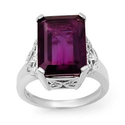 8.20 CTW Amethyst & Diamond Ring 14K White Gold - REF-57F8N - 14195