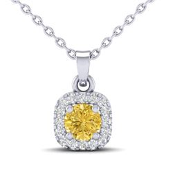 0.38 CTW Citrine & Micro VS/SI Diamond Heart Necklace Halo 18K White Gold - REF-30F2N - 21305