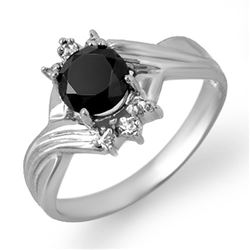1.04 CTW VS Certified Black & White Diamond Ring 10K White Gold - REF-33K8W - 14063