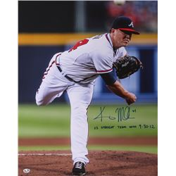 "Kris Medlen Signed Braves 17x21 Photo Inscribed ""23 Straight Team Wins 9-30-12"" (Radtke COA)"