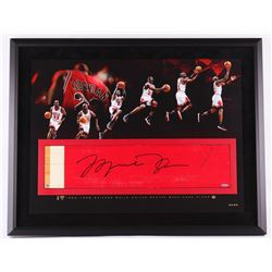 Michael Jordan Signed Bulls 28x36 Custom Framed Authentic Game-Used Floor Piece Limited Edition #23/