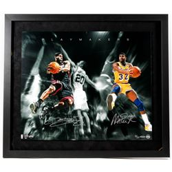 "LeBron James  Magic Johnson Signed LE ""Playmakers"" 26x30 Custom Framed Photo (UDA COA)"
